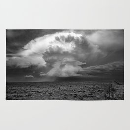 Take a Deep Breath - Storm Cloud Explodes on Horizon in Oklahoma Panhandle in Black and White Rug
