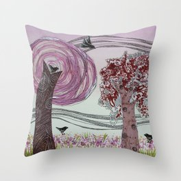 Pink Grove Throw Pillow