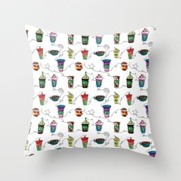 Completely Generic Caffe Beverages Throw Pillow