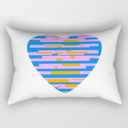 Glitching Hearts — Pink, Blue, and Orange Rectangular Pillow