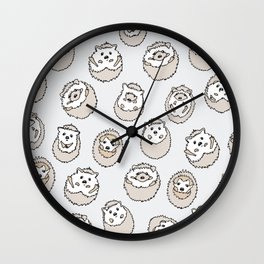 HEDGEHOG PATTERN BEIGE Wall Clock
