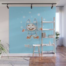 Vector winter card with cartoon rabbit and snowflakes. Wall Mural