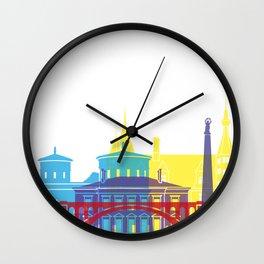 Luxembourg skyline pop Wall Clock