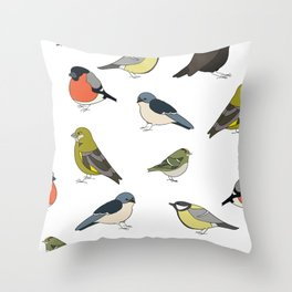 Red and yellow bird Throw Pillow