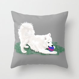 Ronin at Play; Samoyed Puppy Throw Pillow