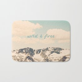 Wild and Free Faded Colorado Mountains Landscape, Clouds, blue skies, rockies Bath Mat