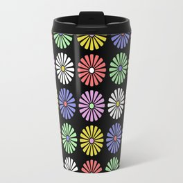 Pastel Flowers Pattern (On Black) Travel Mug