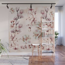Watercolor Pink Magnolia Blossoms Wall Mural