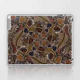 Funghi & Fern Forest, Fall Colors , Foraging for Woodland Mushrooms Brown, Orange Purple Laptop & iPad Skin