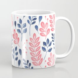 Wistful Floral - Coral and blue Coffee Mug