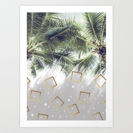 Palm trees and rhombuses Art Print