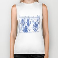 blueprint Biker Tanks featuring MY LITTLE SISTER BLUEPRINT by Sofia Youshi