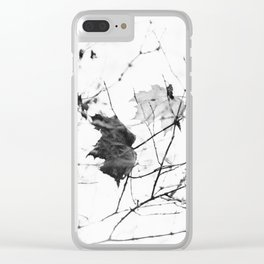 black and white leaf Clear iPhone Case