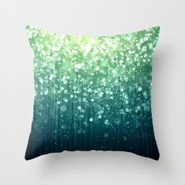 Spring Teal Green Sparkles Throw Pillow