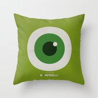 monster inc Throw Pillows featuring Monster, Inc. - Green (Vintage) by Lemontrend Studio