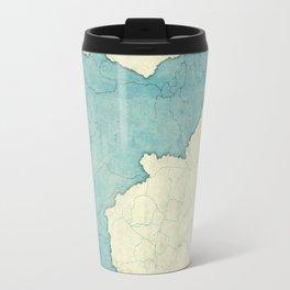 Idaho State Map Blue Vintage Travel Mug