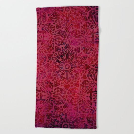 Retro Red textured oriental pattern Beach Towel
