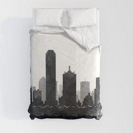 Dallas Skyline Black White Watercolor by Zouzounio Art Comforters