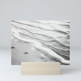 Black and White Beach Ocean Photography, Dog Paw Prints, Grey Water Ripples, Gray Sea Coastal Photo Mini Art Print