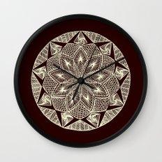 Maroon Mandala Wall Clock