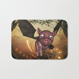 Funny little piglet with wings Bath Mat