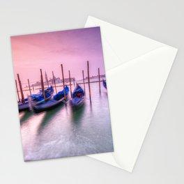 Gondolas moored by Saint Mark square, Venice, Italy, Europe. Stationery Cards