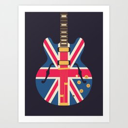 Union Jack Flag Britpop Guitar - Black Art Print