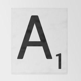 Letter A - Custom Scrabble Letter Wall Art - Scrabble A Throw Blanket