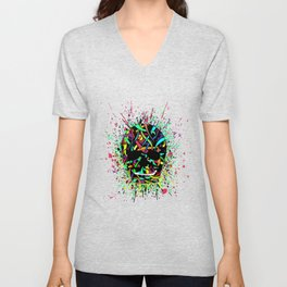 COLOUR SKULL  Unisex V-Neck