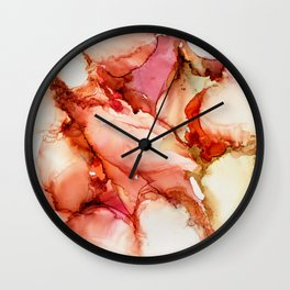 Pink Curves Tangerine Clefts Abstract Wall Clock