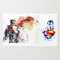 superman Area & Throw Rugs featuring Superman by Bianca Sale