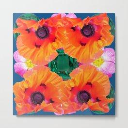ABSTRACT GOLD ORANGE POPPY FLOWERS GREEN ART Metal Print