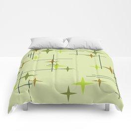 Mid Century Modern Stars Chartreuse Comforters