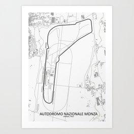 Autodromo Nazionale Monza Circuit Map Art Print