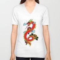 dragon ball V-neck T-shirts featuring dragon  by mark ashkenazi