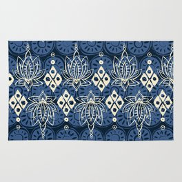 lotus diamond indigo Rug