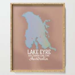 Lake Eyre Australia map poster Serving Tray