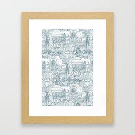 Edinburgh toile denim white Framed Art Print