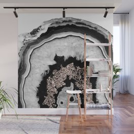 Gray Black White Agate with Rose Gold Glitter #1 #gem #decor #art #society6 Wall Mural