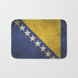 Old and Worn Distressed Vintage Flag of Bosnia - Herzegovina Bath Mat