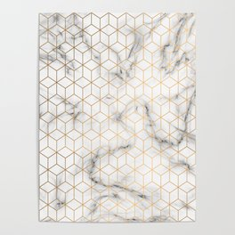 Gold Geometric Pattern on Marble Texture Poster