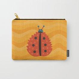 Orange Ladybug Autumn Leaf Carry-All Pouch