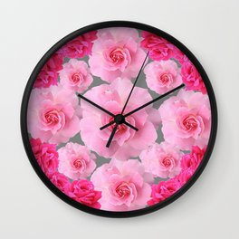 PINK ROSE FLOWERS 0N GREY Wall Clock