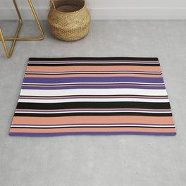 Dark Salmon, Dark Slate Blue, White & Black Colored Striped Pattern Rug