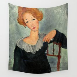 """Amedeo Modigliani """"Woman with Red Hair"""" (1917) Wall Tapestry"""