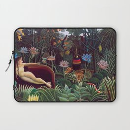 The Dream by Henri Rousseau 1910 // Jungle Lion Flowers Native Female Laying Colorful Landscape Laptop Sleeve