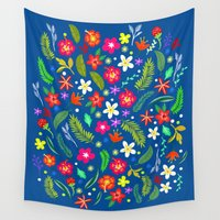 hawaiian Wall Tapestries featuring Hawaiian Garden by uzualsunday
