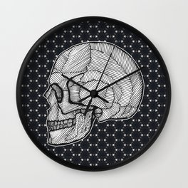 skull with lines Wall Clock