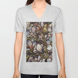 Louis Comfort Tiffany - Decorative stained glass 10. Unisex V-Neck