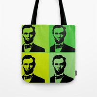lincoln Tote Bags featuring Lincoln by Liam Schultz